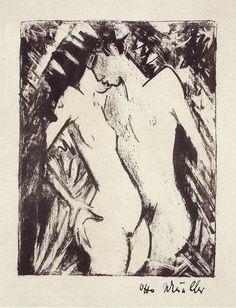 オットー・ミュラー『立っている恋人たち』(1919) Otto Mueller -Stehendes Liebespaar #表現主義 #ブリュッケ