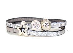 Armbänder - Armband Leder mit Print hell grau, Stern & ... - ein Designerstück von AT-Schmuck bei DaWanda