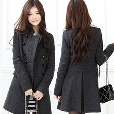 Hot Korean Fashion Womens Slim Double-Breasted Winter Wool Blends Frock Coat Warmly Windproof Jacket 1pcs/lot Free Shipping