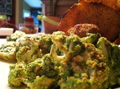 Asparagus Pesto over Roasted Cauliflower & Amaranth Crisps!