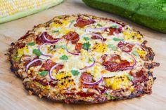Zucchini #Pizza Crust (with Chipotle BBQ Bacon and Grilled Corn Pizza) #recipe #glutenfree