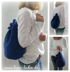 Blauer Häkelbeutel, als Tasche oder Rucksack einsetzbar. http://de.dawanda.com/product/63333471-Blauer-Haekelbeutel