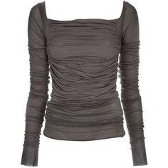 RICK OWENS LILIES LI4208 SEA COTTON/VISCOSE/POLYAMIDE P12F05 (310 CAD) ❤ liked on Polyvore featuring tops, shirts, blusas, grey, women, drape shirt, long-sleeve shirt, square neck top, low scoop back shirt and long sleeve cotton shirts
