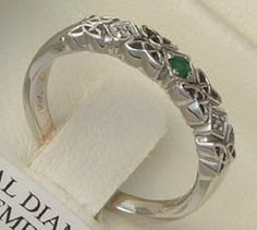 Ladies Emerald and Diamond Celtic Knot Wedding Ring — Unique Celtic Wedding Rings — Unique Celtic Wedding Rings Irish Wedding Rings, Wedding Bands, Perfect Engagement Ring, Vintage Engagement Rings, Celtic Spiral, Celtic Knot Ring, Irish Celtic, Types Of Rings, Beautiful Rings