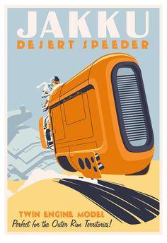 Jakku by Speeder - by Steve Thomas<br>giclee on paper