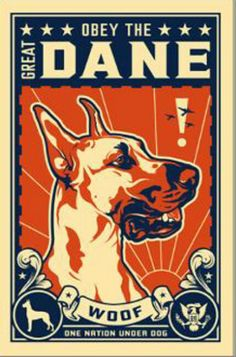 Obey The Great Dane.  Shepard Fairey, Obey Giant Illustration