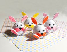 Quilling art. Four Easter bunnies by QuillingLife on Etsy