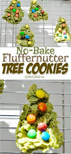 With No-Bake Fluffernutter Tree Cookies, you can make an easy and festive Christmas treat with just 6 ingredients (including peanut butter and marshmallows). Great to make with kids for the holidays. Xmas Food, Christmas Desserts, Christmas Treats, Christmas Cookies, Christmas Time, Quick And Easy Sweet Treats, Tree Cookies, Green Food Coloring, Mini Marshmallows
