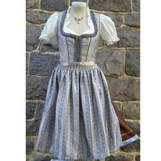 Buy Taupe and Blue Dirndl Online | Germany | Ernst Licht, USA