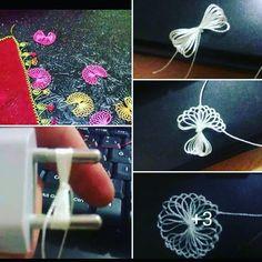 şarj aletinin priz kısımı ile yapılan iğne oyası modeli ilgilenenler mutlaka denemeli bende dahil Needle Lace, Thread Work, Crewel Embroidery, Irish Crochet, Tenerife, Crochet Crafts, Tatting, Knots, Needlework