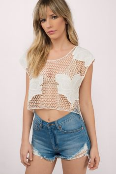 Into Floral Crochet Crop Top at Tobi.com #shoptobi