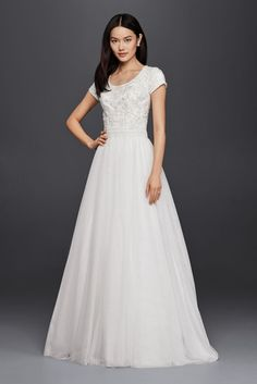 Modest Short Sleeve A-Line Wedding Dress Style SLWG3811