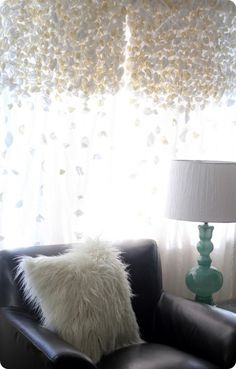 DIY Anthropologie curtains, love that cushion also!