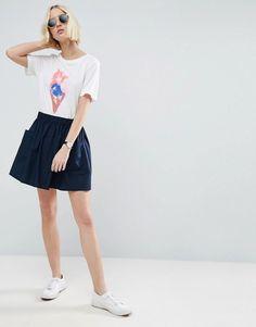 #Valentines #AdoreWe #ASOS - #ASOS ASOS Mini Skater Skirt in Cotton Poplin with Pockets - Blue - AdoreWe.com