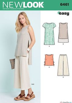 New Look Sewing Pattern NL6461 Misses Dress, Tunic, Top & Cropped Pants - This easy sportswear pattern works great in knit fabrics. Pattern includes tee shirt, cropped tank with slit and ties or high low tunic with long slits, and pull on cropped pants … WeaverDee.com