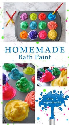 """Bath Paint """"When all else fails, let them have a bubble bath!"""" - Homemade Bath Paint, only 2 ingredients!""""When all else fails, let them have a bubble bath!"""" - Homemade Bath Paint, only 2 ingredients! Fun Crafts For Kids, Baby Crafts, Toddler Crafts, Projects For Kids, Diy For Kids, Ghost Crafts, Frog Crafts, Toddler Preschool, Home Made Paint For Kids"""