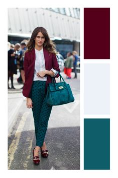6 items que le darán ese toque de glamour a tu look #TiZKKAmoda #blazer #vino #blusa #blanco #pantalón #verde #bolsa #look #casual Colour Combinations Fashion, Color Combinations For Clothes, Fashion Colours, Colorful Fashion, Color Combos, Mode Bcbg, Best Street Style, Modelos Fashion, Fashion Corner