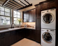 This laundry room is fantastic. What a great drying rack!