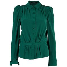 Balenciaga Green Silk Long Sleeve Blouse M ❤ liked on Polyvore featuring tops, blouses, long sleeve silk blouse, long sleeve tops, green long sleeve blouse, collar blouse and blue blouse