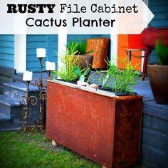 Rusty File Cabinet Cactus Planter
