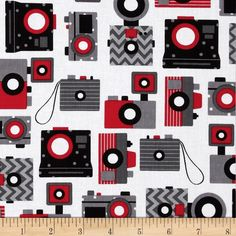 This and That Retro Cameras Jet  100% Cotton Fabric from fabric.com