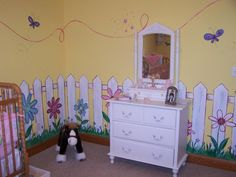 Little flower walls mural   Picket fence and flower mural