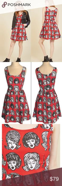 Wig out dress Skater style dress with pockets and elastic back waist with all over novelty retro wig print.   100% Cotton  Made in USA Modcloth favorite brand Retrolicious   SIZE         TOTAL LENGTH  S                        35.5  M                        L                          XL                      37 Modcloth Dresses