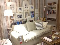 EKTORP sofa in beach style living room at IKEA Amsterdam. With picture frames inspiration. #JanineJacobs # IKEA