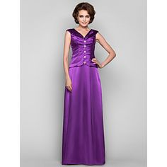 $149 A-line+V-neck+Floor-length+Stretch+Satin+Mother+of+the+Bride+Dress(551483)+–+USD+$+149.99