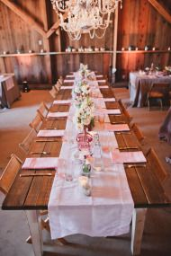 Long farm table, crisp linens, eclectic dishware and vases. :: SMP 4.10.13
