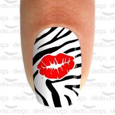 Adesivo para Unha - Beijo Zebra