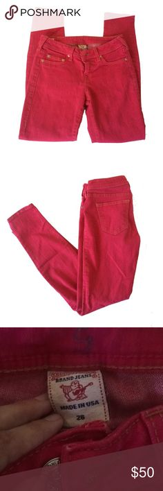 "True Religion Halle Hot Pink Skinny Jeans True Religion Halle skinny   Hot pink  Gold stitching American flag patch   Size 26 28.5"" inseam 8"" rise True Religion Jeans Skinny"