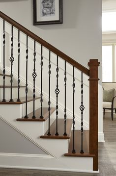 Media Gallery from Crown Heritage Stair Company - Crown Heritage Stair Company Steel Railing Design, Staircase Railing Design, Interior Stair Railing, Wrought Iron Stair Railing, Balcony Railing Design, House Staircase, Home Stairs Design, Staircase Remodel, Staircase Makeover