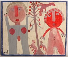 'Wedding Couple' by folk artist Mose Tolliver (1920-2006) via live auctioneer