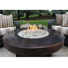 Hammered Copper 42 Round Oriflamme Fire Table Gas Pit Ideas