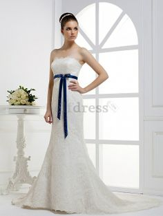 Summer Lace Fabric Mid Back Hall Spring Formal Removable Sash Court Train Strapless Wedding Dress