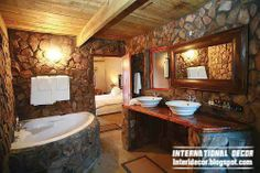 Rustic decor and furniture for small bathroom