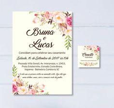 Convite casamento floral - Digital