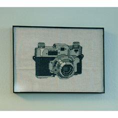vintage retro black and white kodak cross stitch by tiny modernist