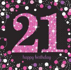 21St Pink Sparkling Celebration 33Cm Paper Party Napkins | Serviettes 1-96Pk
