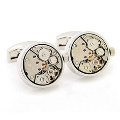 Check out the deal on Round Stainless Steel Watch Movement Cufflinks at…