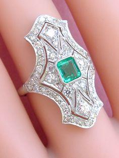 ESTATE EDWARDIAN / ART DECO 1.36ctw DIAMOND .50ct EMERALD PLATINUM COCKTAIL RING #Unbranded #ArtDecoCocktail