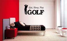 EAT SLEEP PLAY GOLF  BOY LETTERING DECAL WALL VINYL DECOR STICKER ROOM SPORTS