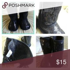 Lil Divas Blaque Sequence Boots Little girls black sequins boots with lining slightly used Shoes Baby & Walker