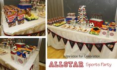 vintage sports baby shower ideas | All American Sports Party - A boys 3rd birthday sports party with ...