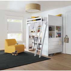 Moda kids loft bed with desk and shelves pairs beautifully with modern kids bedroom furniture Modern Kids Bedroom, Modern Kids Furniture, Modern Bunk Beds, Kids Bedroom Furniture, Bedroom Ideas, Bed Ideas, Wooden Furniture, Bedroom Decor, Bunk Bed With Desk