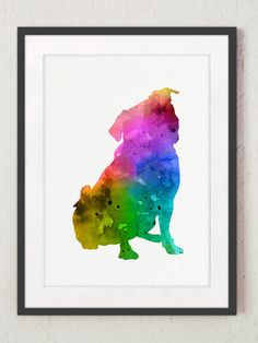 Rainbow Pug Dog Nursery Art Print Abstract by Silhouetown on Etsy
