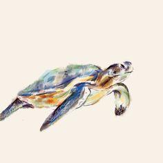 Sea Turtle Art Card on 6 x 6 watercolor paper by triplestudio, $7.00