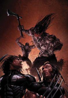 Warpath and Wolverine by Clayton Crain