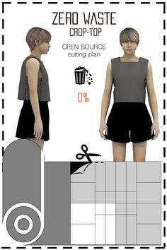 [ FR ] Patronnage zéro déchet conçu pour fabriquer des crop tops. Le placement est disponible gratuitement (sous licence creative commons) dans différents formats tels que: jpeg, pdf, svg, & dxf.. [ EN ] This is a Zero waste pattern designed to make crop tops. Cutting plan is available for free (under the creative commons licence) in differents formats such as jpeg, pdf, svg, & dxf..